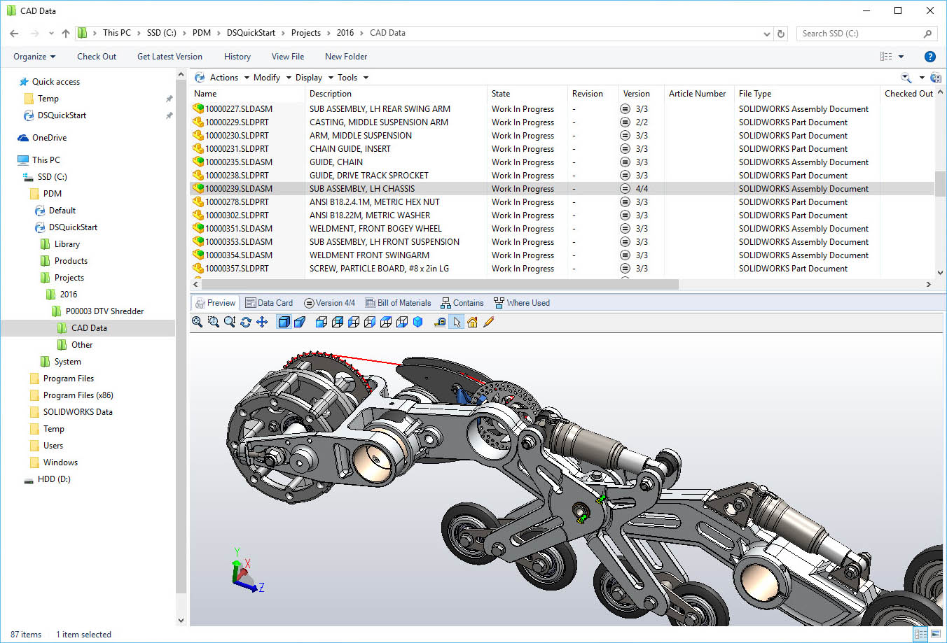 screenshot pdm solidworks